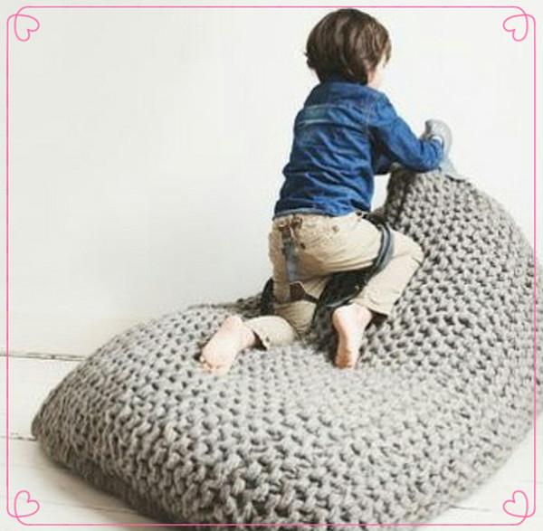 2017 Fashion Adult Knit Bean Bag Chair Large Crochet Crochet Bean Bag Chair  Handmade Floor Cushion