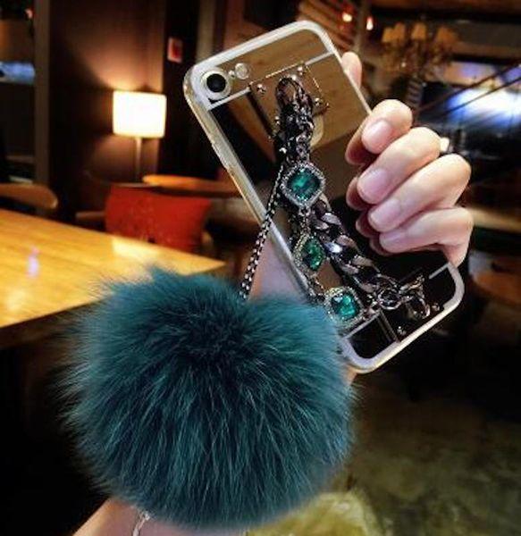 10pcs Luxury Fashion Diamond Bracelet chain Fox soft pompom fur ball mirror case For Huawei p8 p9 p10 lite plus mate 8 9