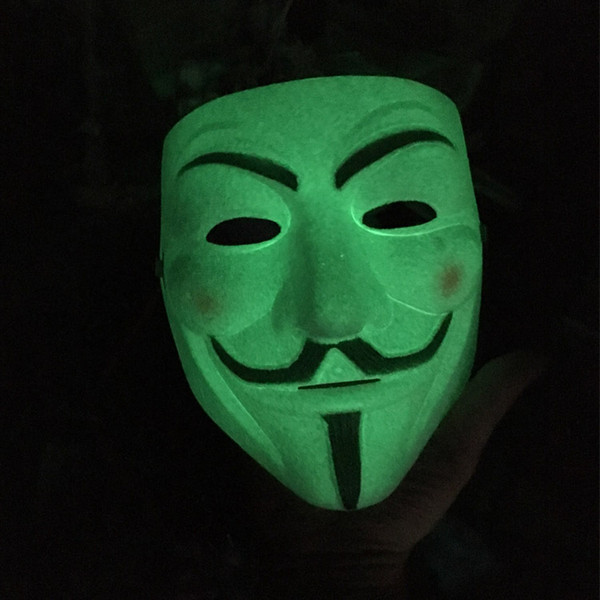light in the dark V mask Vendetta white Mask Anonymous Guy Fawkes Fancy Adult Costume Halloween Masks
