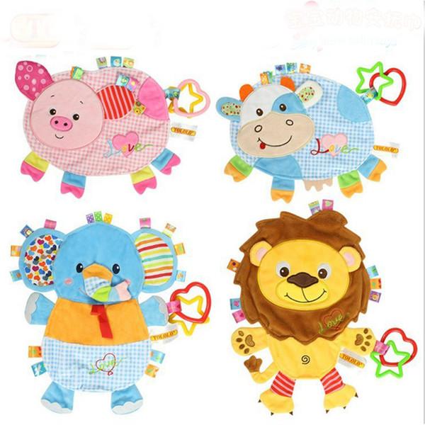 Atacado-Baby Clam Plush Comfort Doll Label Placarders Toalha Chocalhos Bb Dispositivo Brinquedos Multifuncionais Baby Towel WJ410