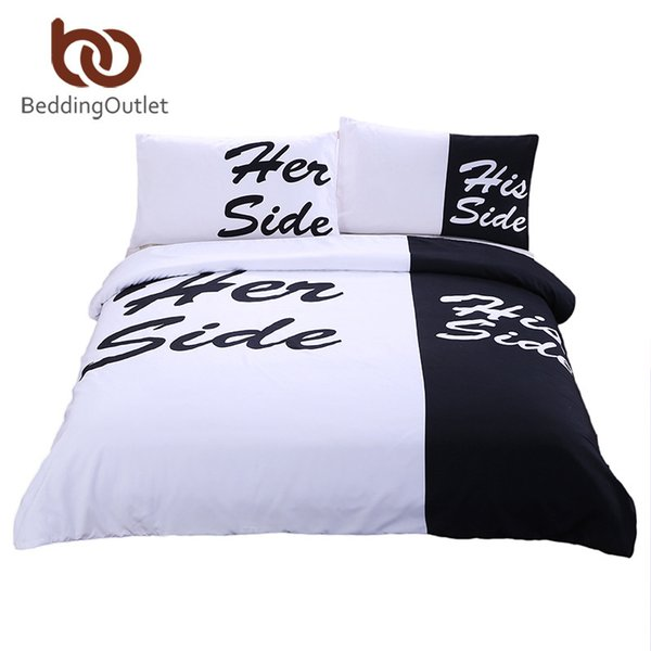 Wholesale-BeddingOutlet Black Bedding Set His Her Side Home textiles Soft Duvet Cover and Pillowcases 3Pcs Queen King Hot