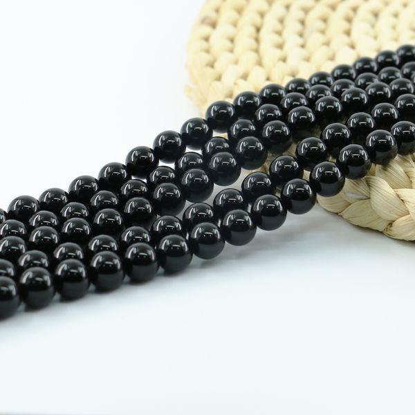 Natural Black Onyx Obsidian Stone Beads Semi Precious Gemstone 4/6/8/10mm Full Strand 15 inch L0096#