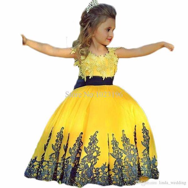 Großhandel Nette Blumen Mädchen Kleider Gelbe Und Schwarze Appliques ...