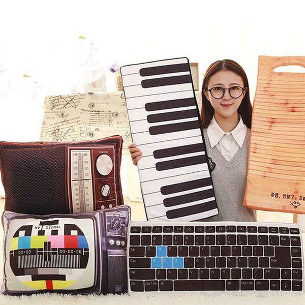 52 / 64cm Drop Shipping Creative Artificielle TV / piano En Peluche Jouets Clavier Oreiller Coussin Garçon / Fille Cadeau D'anniversaire