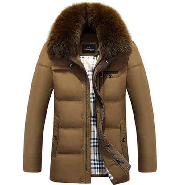 Wholesale- Nice New Fashion Pop Winter Coat Men Down Imitation Fox Fur Collar Male Thickening Plus Size Jacket White Duck Down Parkas HJ112