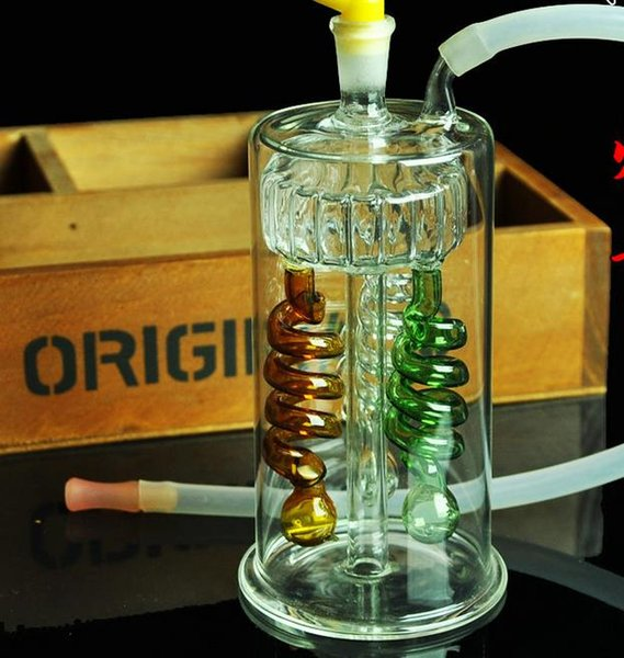 Three-color spring-style hookah, Send pot accessories, glass bongs, glass water pipe, smoking, color models shipped