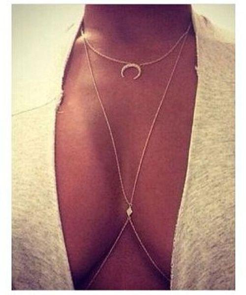 GEMIN 2 pezzi (1 pezzo come regalo) Bikini Moon Diamond Crystal Charm Crossover Harness Waist Belly Body Chain Necklace