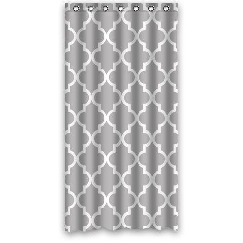 Customs 36/48/60/66/72/80 (W) x 72 (H) Inch Shower Curtain Quatrefoil Grey and White Lattice Design Polyester Fabric Shower Curtain