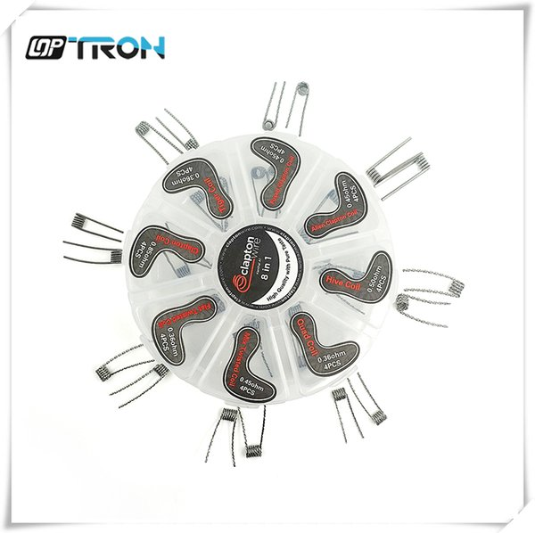 Wholesale- 8 in 1 Prebuilt Coils Clapton Quad Tiger Hive Alien Fused Clapton Mix Twisted Coil fit DIY Atomizer 32PCS