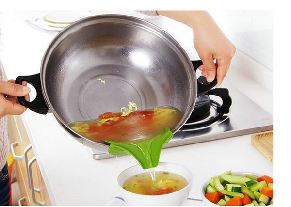 Кухонная воронка с защитой от брызг Гаджет Силиконовая застежка на носик для заливки Один бесплатный для кастрюль и сковородок