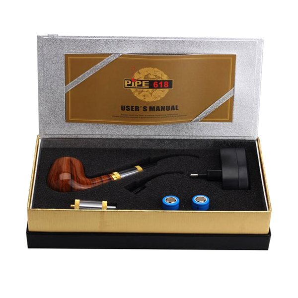 Pipe 618 e cigarettes starter Kit E pipe 2.5ml Atomizer With 18350 Battery Wood pipe dry herb vaporizer vape mod top quality