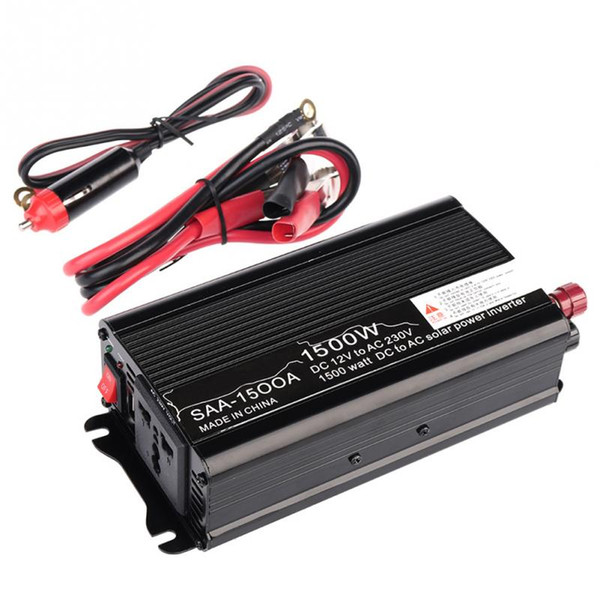 Al por mayor-1500W DC 12V-AC 220V / 240V Cargador de coche Adaptador convertidor de energía solar del coche Forma de onda sinusoidal modificada con USB