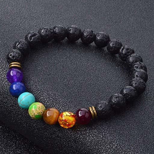 top popular New Natural Black Lava Stone Bracelets 7 Reiki Chakra Healing Balance Beads Bracelet for Men Women Stretch Yoga Jewelry 2019
