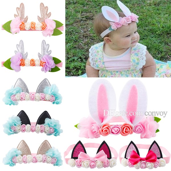 top popular 2017 New Baby Headbands Baby Girls Cat Ear Headband lovely animal hairbands Flower Chiffoon Head bands Cute Rabbit Hair Accessories KHA313 2020