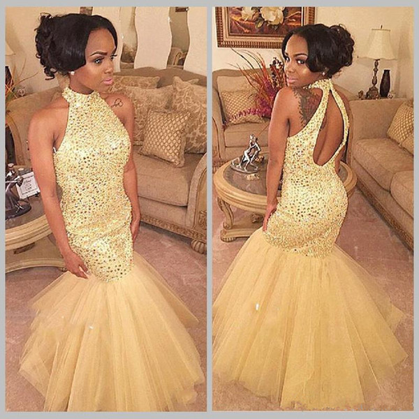 2019 Hot Sale Sparkle Style Halter Backless Tulle Mermaid Evening Long Dresses With Sequin Prom Gowns