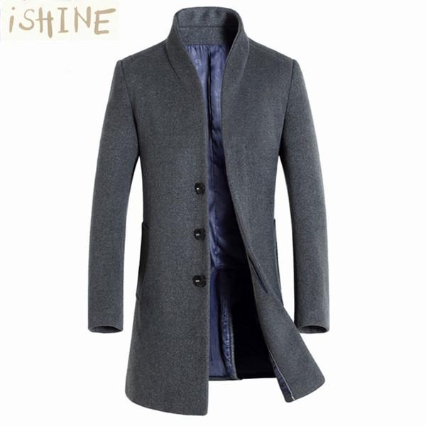 Wholesale- Winter wool coat men long sections thick woolen coats Mens Casual Fashion Jacket casaco masculino palto peacoat overcoat