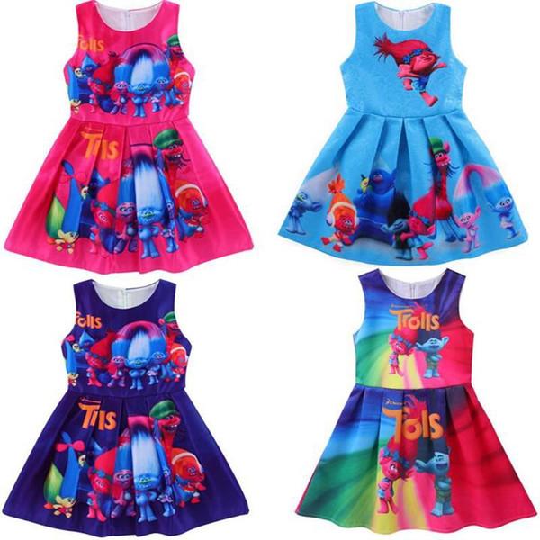Mädchenkleider o-neck Ballkleid-Mädchen sleeveless a-line scherzt Mädchenkleider-Cartoon-Tutu-Kleider für Mädchen niedliches Musterkleid-Sommerkleid