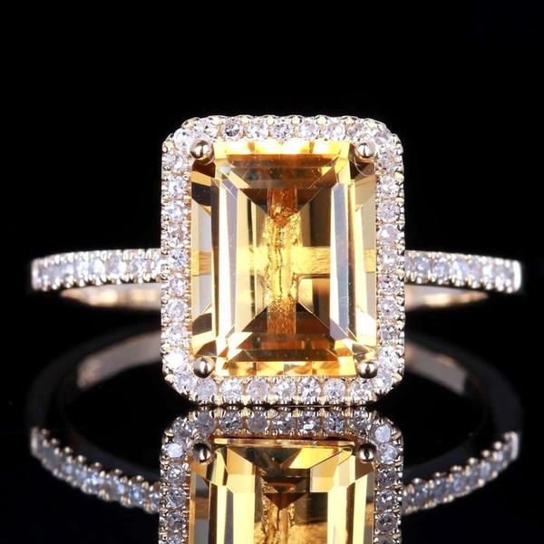 Wholesale Fashion 925 Sterling Silver Wedding Jewelry Citrine Genuine Gemstone Promise Ring size 6 7 8 9 10