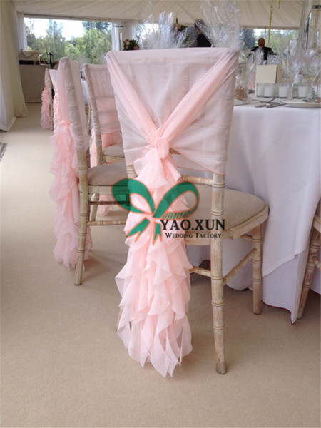 Pink Color Chiffon Chiavari Chair Cover \ Chair Cap Jacket For Wedding Decoration