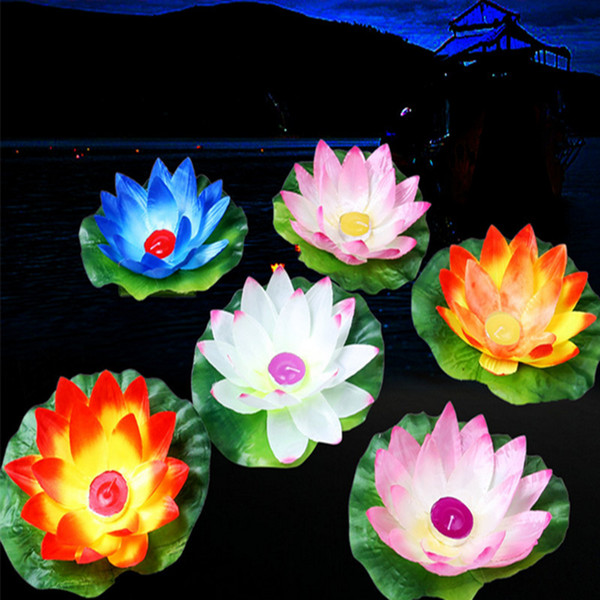 Beautiful Floating Water Blessing Silk Lotus Candle Lamp White Red Pink Blue Purple Wishing Lantern for Wedding Event Party Supplies