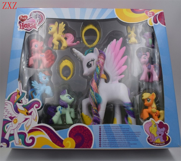 Beautiful set Collection Model Toys for Children Anime cartoon Lovely Rainbow Horse Princess Luna PVC Poni