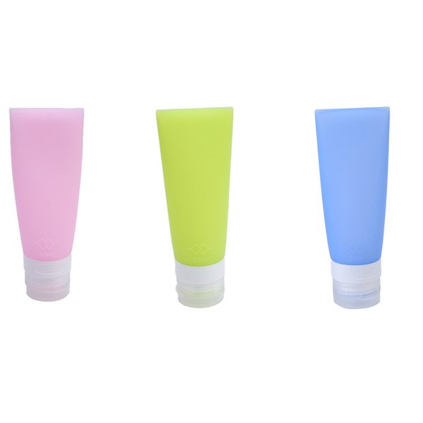 Al por mayor-38ML / 80ML Lindo Mini viaje de silicona Botella de Embalaje Loción Shampoo Tube Container Storage Bottles IC674579