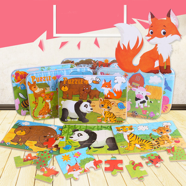 best selling Wooden Puzzle Cartoon Toy 3D Wood Puzzle Iron Box Package Jigsaw Puzzle for Child Educational Montessori Wood