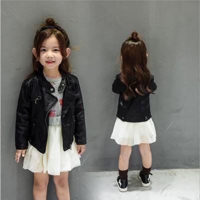top popular 2017 Kids Outwear Black Autumn Winter Girls Coats And Short Jackets PU Leather Jacket Casual stand collar zipper Children Outerwear CC0041 2019