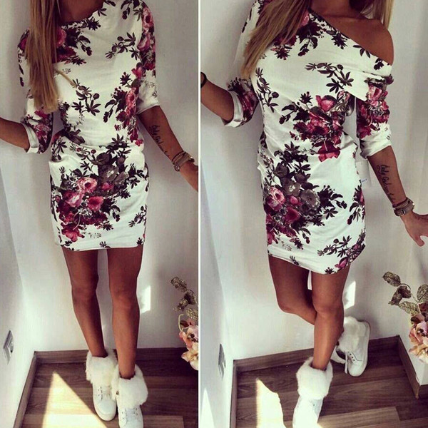 top popular Vestidos Summer Style Casual Women Painting O Neck Mini Dress Sexy Casual Clothing Party Dress 2020