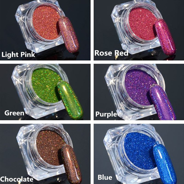 top popular 1.5g 1 Box Holographic Glitter Laser Powder Gorgeous Nail Glitter Chrome Pigment for DIY Nail Art Decorations 6 Colors Available 2020