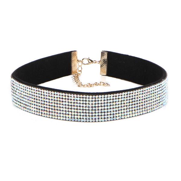 Black Leather Rhinestone Choker Necklace for Women Full of Crystal Choker 2017 Statement chocker collar fashion jewellery 5Colors