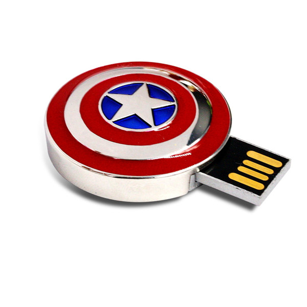 Mini USB Flash Drive 4G 8G 16G 32G 64G Full Capacity Avengers Captain America Shield Metal USB 2.0 Flash Drive Memory Stick Pen Drive