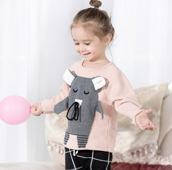 Autumn Winter Girls Sweater Baby Kids Cartoon Mouse Knitted Tops