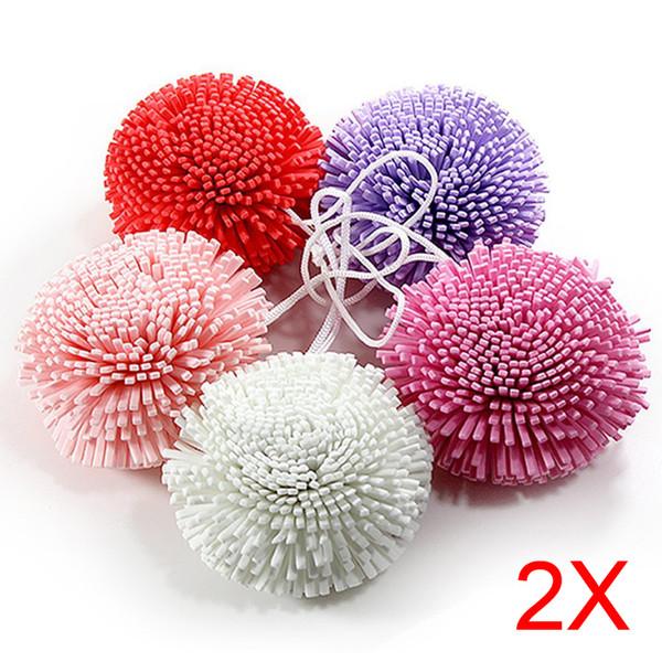 Vente en gros - 2pcs nouveau bain / douche corps exfolier feuilletée éponge maille EVA balle de bain coloré TB Vente