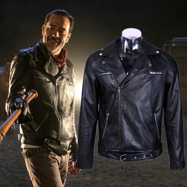 The Walking Dead Negan Men'S Winter Black Leather Jacket Cosplay Coat Motorcycle Coat Costume S-3XL Size Drop Shipping