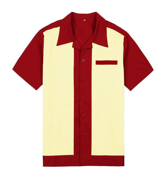 Großhandels-Mens-purpurrote Abnutzungs-Platten-Farben-Kurzschluss-Hülsen-Knopf herauf Baumwolle 50 60s Weinlese-beiläufige Designer-Hemden für Männer geben Verschiffen frei