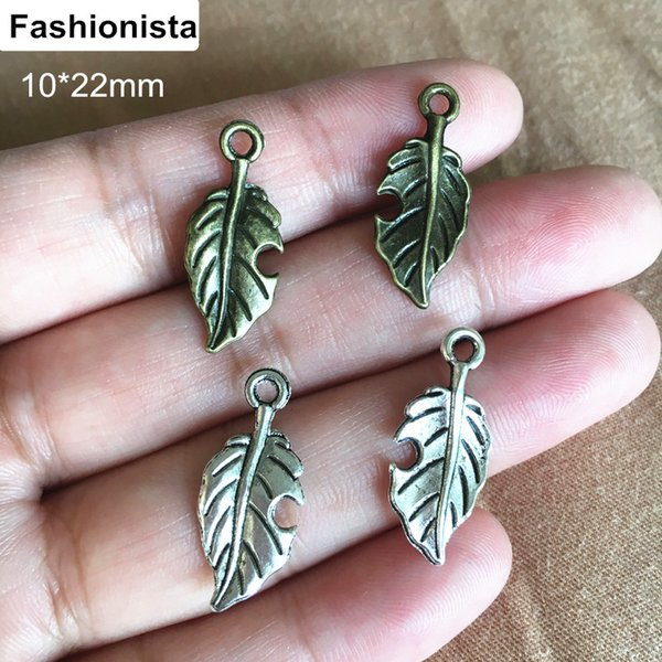 100 pcs Lovely 2 Sided Antique Silver/Antique Bronze Leaf Charms 10*22mm,Perfect for pendants,earrings,zipper pulls,bookmarks and key chains
