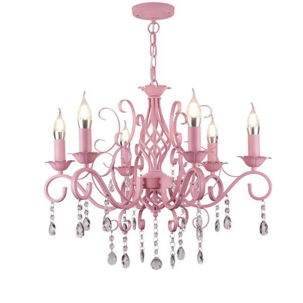 Luz de la vela de cristal Sala de la princesa niña rosada romántica habitación de matrimonio iluminación jardín comedor dormitorio principal del estudio del hotel Lámparas colgantes