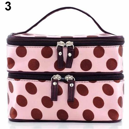 Wholesale- 2016 Chic Lady's Wave Dot Case Makeup Double Cosmetic Hand Bag Tool Storage Toiletry 9IHL