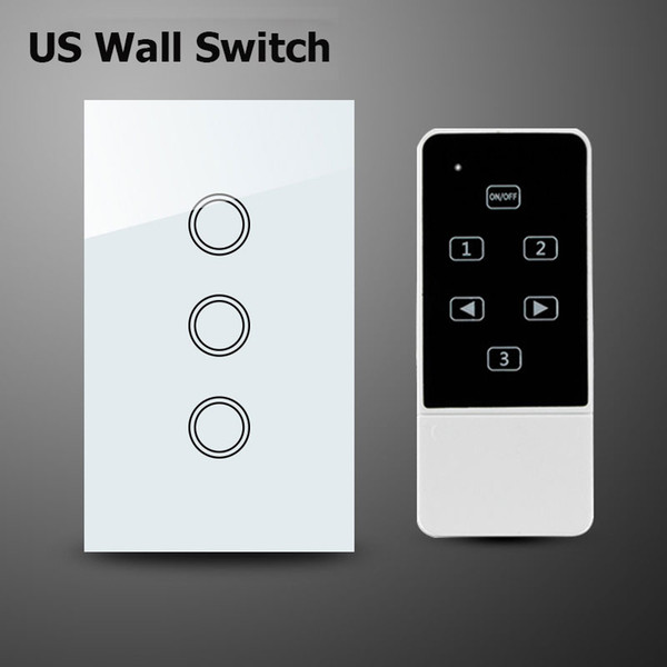 Wholesale-3 Gang 1Way Wifi Switch,Smart Home Automation,Crystal Glass Panel Wireless Remote Control Wall Light Touch Switch,US Standard