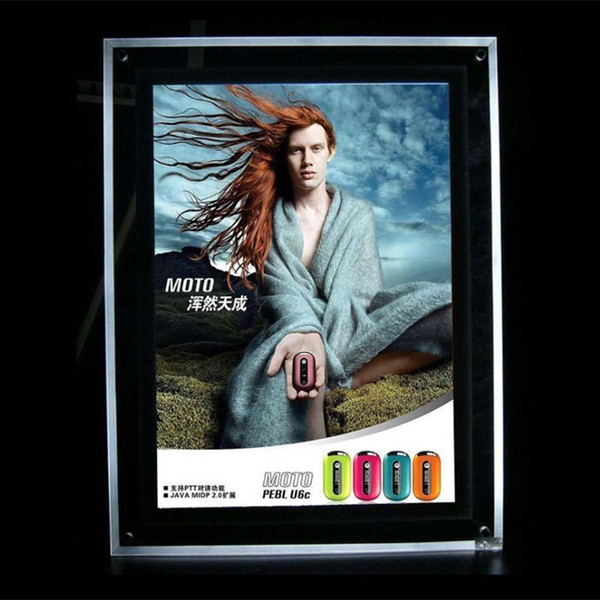 A1 Slim LED Advertising Crystal Acrylic Light Box Acrylic Panel LED 2835 Side-Lit Strong Wooden Case Packing