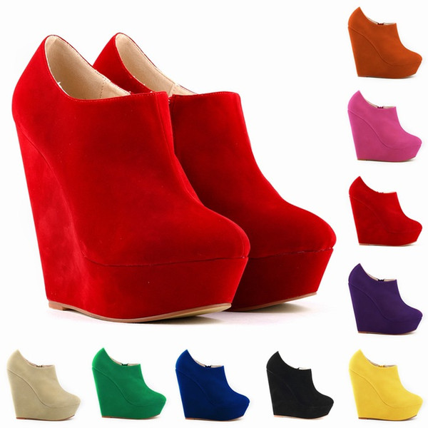 Womens Autumn Winter Elegent Platform High Heels Suede Shoes Sexy Ankle Boots Wedges Botas Femininas US Size 4 -11 D0044