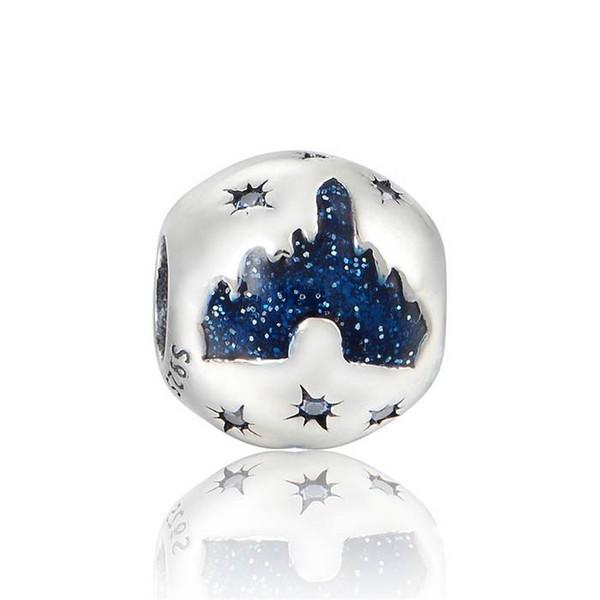 Sleeping Beauty Castle Charm With Pale Blue Gems / Enamel Charm Beads 925 Sterling Silver Jewelry Fits Pandora Bracelet DIY Jewelry Making