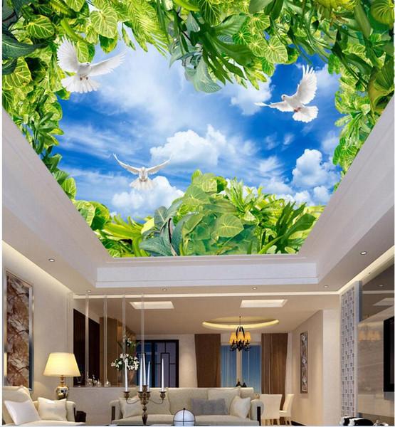 3d photo wallpaper custom mural Blue sky white clouds green dove sunlight ceiling murals home decoration living room wallpaper for walls 3d
