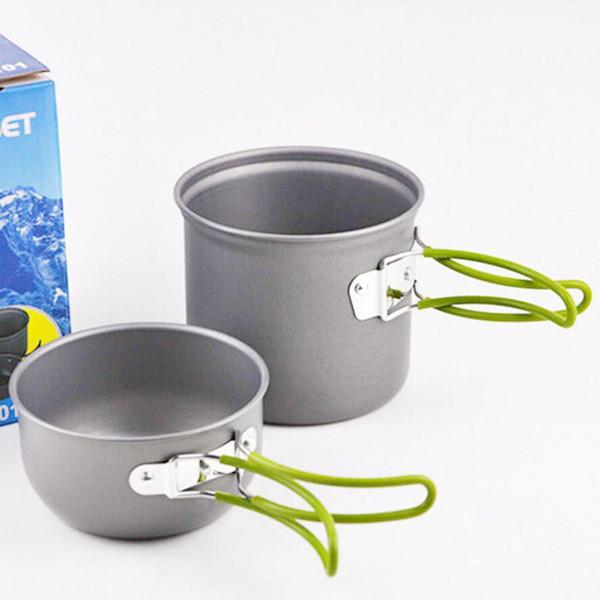 New Camp Kitchen Used 2pcs/set Portable Aluminum Alloy Camping Pot Set Pot Bowl Cookware Mini Outdoor Hiking Cooking Pan Set