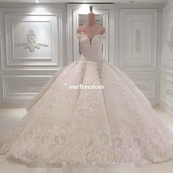 best selling Vestido De Noiva Ball Gown Wedding Dresses 2019 Off The Shoulder Cathedral Train Lace Appliques Bridal Gown For Church Custom Made
