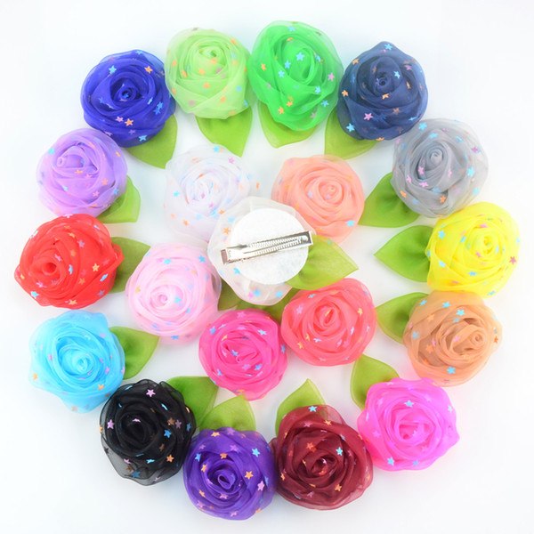 free shipping 24pcs/lot The new high quality hair accessory Mesh Rose with leaf clip Flowers Hair Flowers Corsage H0245