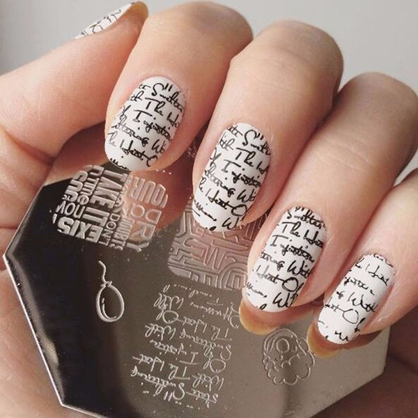 Lip Cup Letter Nail Stamping Plates Nail Art Stamp Template Image