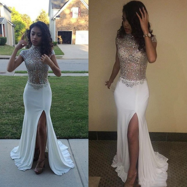 sexypromdress / Gorgeous Shinning Beaded High Neck Prom Dresses 2k17 Cap Sleeve White Chiffon High Split Evening Gowns See Through Cocktail Party Dress