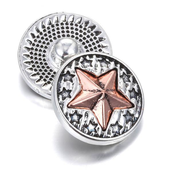 10pcs/lot 18mm Snap Jewelry Buttons Maple Leaf Metal Snap fit button bracelet Snap bangles for women Men